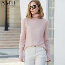 Amii[极简主义]时尚睿智感 高领坑条拼接羊毛衣女 冬修身百搭上衣