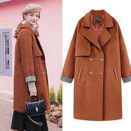 MG小象chic毛呢外套新款2017女装冬季中长款韩版学生宽松呢子大衣