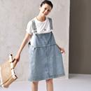 米可可 Q7063 文艺大码浅蓝牛仔背带裙宽松百搭减龄连衣裙女夏