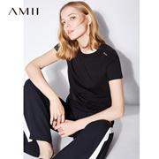 【特价】Amii[极简主义]2017夏装新款女大码休闲短袖圆领印花T恤11731963