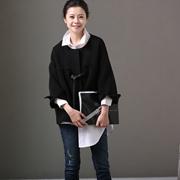 米可可  W2800 文艺大码圆领绑带暗扣七分袖宽松短外套女 2018春