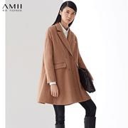 AMII【极简主义】冬新品西装领双排扣A字型中长款毛呢大衣11490421