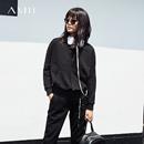 Amii[极简主义]2017秋新品趣味标语印花连帽卫衣11765347
