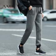 Amii[极简主义]2016冬女新拼接抽绳插袋厚款休闲长裤11674184