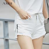Amii[极简主义]2017夏新品宽松印花流苏前短后长牛仔短裤11742479