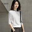 Amii2017春季半高领条纹针织修身短款大码七分袖T恤女装
