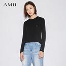 Amii[极简主义]2017秋装新品简约长袖休闲大码印花圆领短款T恤女