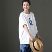 米可可  T380 文艺大码宽松卡通印花圆领纯棉五分袖T恤女 2018春