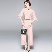 2018夏季欧美女装新款圆领短袖修身显瘦雪纺衫阔腿裤套装女可拆卸