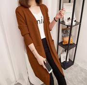 2018中长款长袖针织衫外套新款秋冬季女装纯色大码毛衣开衫外搭打底衫