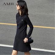 Amii[极简主义]春新品时尚Polo领金属圈运动减龄连衣裙 11760693