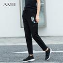 Amii[极简主义]抽象意趣 纯棉印花休闲长裤 2018春装新松紧腰裤子