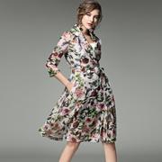 欧洲站2017春季女装新款V领欧根纱印花气质双排扣大摆修身连衣裙