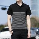 邦汀世裔 夏季男士短袖t恤时尚翻领条纹polo衫男修身韩版潮流半袖体恤衫男