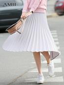 Amii极简港味chic设计师风格百褶裙2018秋新显瘦风琴褶半身裙