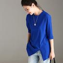 米可可  T3551 文艺修身圆领不对称燕尾五分袖宝蓝色打底T恤女秋