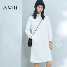 Amii[极简主义]2016冬女装新品POLO领纯色抓绒大码连衣裙11643703