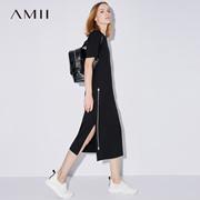 Amii[极简主义]2017夏装新款大码休闲印花口袋开衩连衣裙11722225