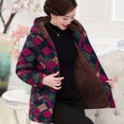 加绒加厚棉衣妈妈装冬装中老年中年女装5060外套连帽棉服棉袄保暖