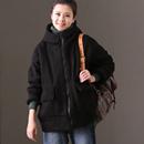 米可可   W1000 通勤韩版宽松连帽加绒加厚外套棉服女冬
