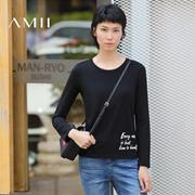 【限量】Amii[极简主义] 百搭通勤直筒字母印花弹力长袖T恤11632597
