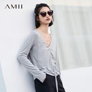 Amii[极简主义]休闲风长绑带T恤女2018春装新款直筒V领橡筋上衣