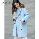 Amii极简日系chic赫本风呢子大衣女2018冬季新款茧型小个子呢大衣