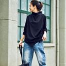 T1780 文艺简约不规则抽绳设计半高领宽松长袖打底t恤女2019秋米可可