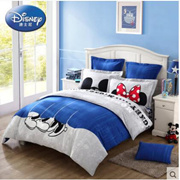 Disney/迪士尼床上用品全棉纯棉磨毛被套床单四件套件亲密COUPLE