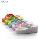 Amii[极简主义]休闲松糕坡跟人字拖女夏防滑厚底凉拖鞋夹脚沙滩鞋11110695