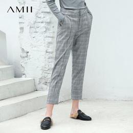 Amii极简原宿chic欧货潮休闲裤2018秋新插袋直筒格子九分裤