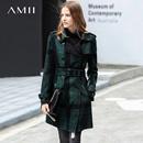 Amii极简欧货潮复古双面呢外套2018冬新款翻领腰带墨绿格子外套