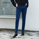 Amii[极简主义]修身百搭 棉氨牛仔长裤女 2017秋季抽绳腰头休闲裤