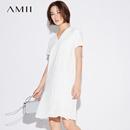 Amii[极简主义] 2017夏装新V领弹力拼接雪纺风琴褶连衣裙11722112