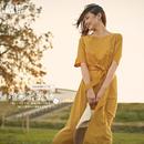 茵曼夏装新款系带短袖大A摆优雅气质连衣裙女中长裙1882102119
