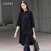 Amii[极简主义]2017春立领拉链拼贴七分袖宽松大码连衣裙11740673