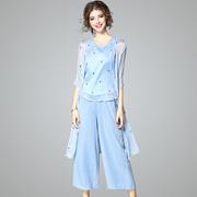 2017夏季新款时尚套装绣花显瘦女上衣+七分阔腿裤+开衫披肩三件套