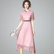 2017夏季新款时尚圆领纯色收腰显瘦雪纺中长裙不规则荷叶袖连衣裙