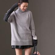 新品包邮 M808 通勤韩版百搭潮流AB面减龄高领保暖羊毛衫毛衣女冬