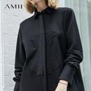 Amii极简欧货潮chic长袖衬衫裙2018秋新款宽松小熊棉质休闲连衣裙