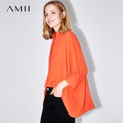 Amii[极简主义]2017夏装新品翻领暗门襟连肩袖宽松雪纺衫11741733