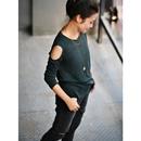 包邮 米可可 T9770 韩版百搭圆领露肩弹力修身显瘦打底外穿长袖T恤女