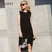 Amii[极简主义]时尚气质无袖黑色修身包臀背心连衣裙子女春夏款