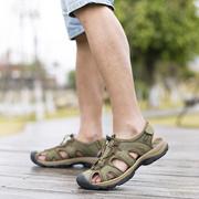 上匠风华 夏季  头层皮橡胶底EVA 男子沙滩凉鞋女子凉鞋1366