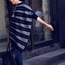 韩版条纹斜摆洋气造型设计款宽松百搭套头针织衫女2019秋米可可