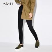 Amii[极简主义]秋装2017新款纯色修身百搭铅笔裤休闲长裤11734527