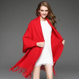 欧美女装2016秋冬新款中长款开衫女百搭针织羊毛披肩宽松大码外套