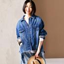 米可可 W2067 韩版大码做旧撕边印花BF蓝色大牛仔外套女 2019春