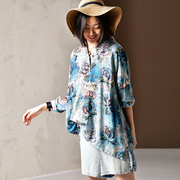 米可可 C1931 文艺大码人棉垂感舒适半襟宽松印花衬衫女 2019春