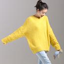 米可可  M3866 文艺大码圆领织花宽袖茧型加厚粗线毛衣女 2018冬